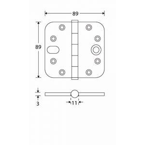 Wallebroek Mi Satori 00.4060.90 veiligheidsscharnier ronde hoek 89x89 mm messing mat nikkel PVD vlak - A25000220 - afbeelding 1