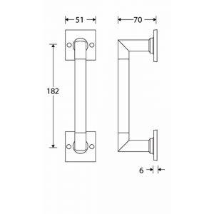 Wallebroek Mi Satori 00.4306.90 deurgreep Bauhaus op vierkant rozet messing mat zwart 182 mm - A25003044 - afbeelding 1