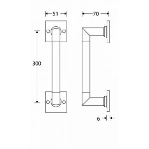 Wallebroek Mi Satori 00.4307.90 deurgreep Bauhaus op vierkant rozet messing getrommeld ongelakt 300 mm - A25003033 - afbeelding 1