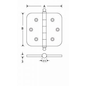 Wallebroek Mi Satori 00.4504.90 kogellager scharnier bol ronde hoek 89x89 mm messing mat nikkel ongelakt - A25000164 - afbeelding 1