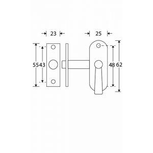 Wallebroek Mi Satori 00.4519.90 insteekgrendel messing mat nikkel ongelakt - A25000656 - afbeelding 1