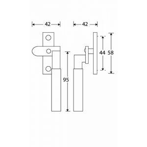 Wallebroek Mi Satori 00.5823.90 raamboom met sluitplaat rechts Bauhaus messing gepolijst ongelakt-ebben - A25005352 - afbeelding 1