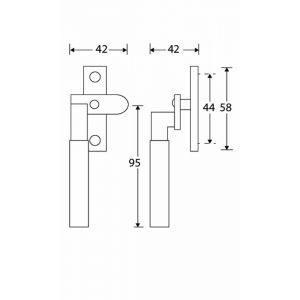 Wallebroek Mi Satori 00.5824.90 raamboom met sluitplaat links Bauhaus messing gepolijst ongelakt-ebben - A25005363 - afbeelding 1
