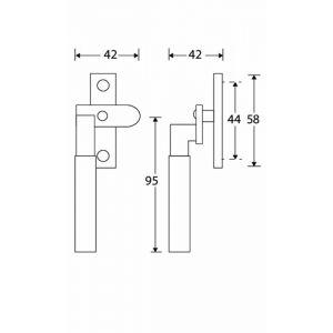 Wallebroek Mi Satori 00.5826.90 raamboom met sluitplaat links Bauhaus messing gepolijst ongelakt - A25005364 - afbeelding 1