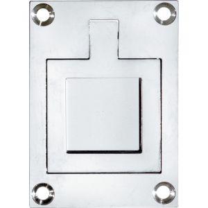 Wallebroek Mi Satori 00.6915.90 luikring rechthoekig 66x48 mm vierkant messing glans chroom - A25004909 - afbeelding 1