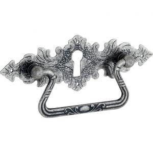Wallebroek 86.8146.90 valgreep Lavorato met sleutelgat messing antiek zilver - A25005694 - afbeelding 1