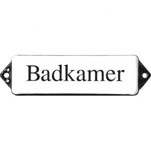Wallebroek Identity 88.0107.90 emaille tekst Badkamer 10x3 cm wit-zwart - A25004735 - afbeelding 1