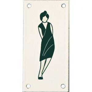 Wallebroek Identity 88.0143.90 emaille pictogram Dame Klassiek 6x12 cm ivoor-groen - A25004737 - afbeelding 1