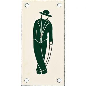 Wallebroek Identity 88.0144.90 emaille pictogram Heer Klassiek 6x12 cm ivoor-groen - A25004745 - afbeelding 1