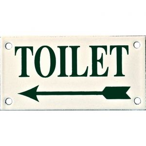 Wallebroek Identity 88.0147.90 emaille pictogram Toilet links Klassiek 6x12 cm ivoor-groen - A25004751 - afbeelding 1