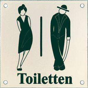 Wallebroek Identity 88.0152.90 emaille pictogram Toiletten Klassiek 12x12 cm wit-zwart - A25004753 - afbeelding 1
