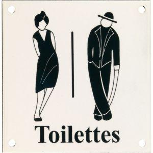 Wallebroek Identity 88.0162.90 emaille pictogram Toilettes Klassiek 12x12 cm ivoor-groen - A25004756 - afbeelding 1